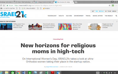 New horizons for religious moms in high-tech (כתבה של Israel21C)
